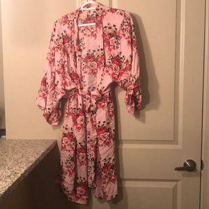 Pink floral silk robe.